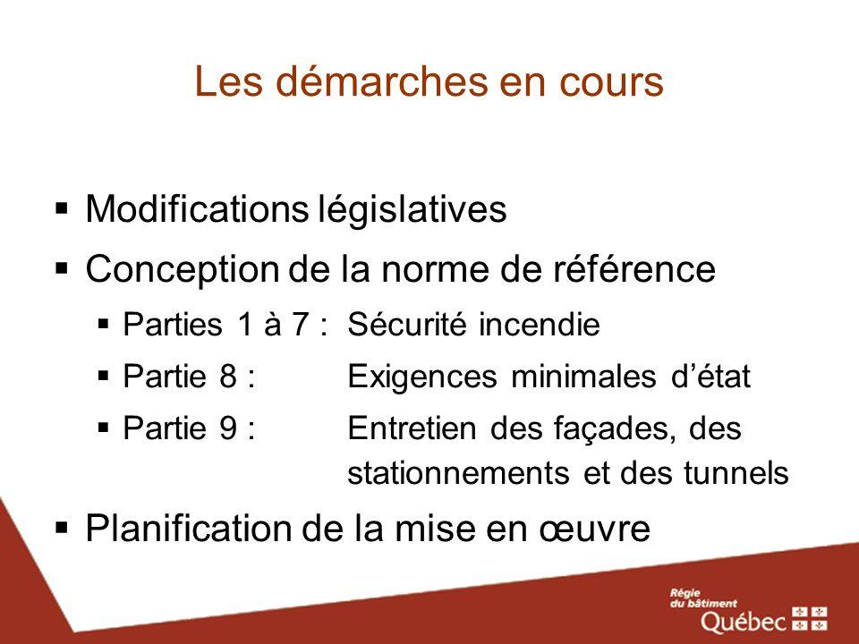 Les démarches en cours Modifications législatives Conception de la norme de référence Parties 1 à 7 :Sécurité incendie Partie 8 : Exigences minimales