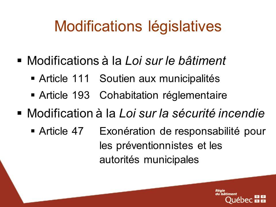 Modifications législatives Modifications à la Loi sur le bâtiment Article 111Soutien aux municipalités Article 193 Cohabitation réglementaire Modifica