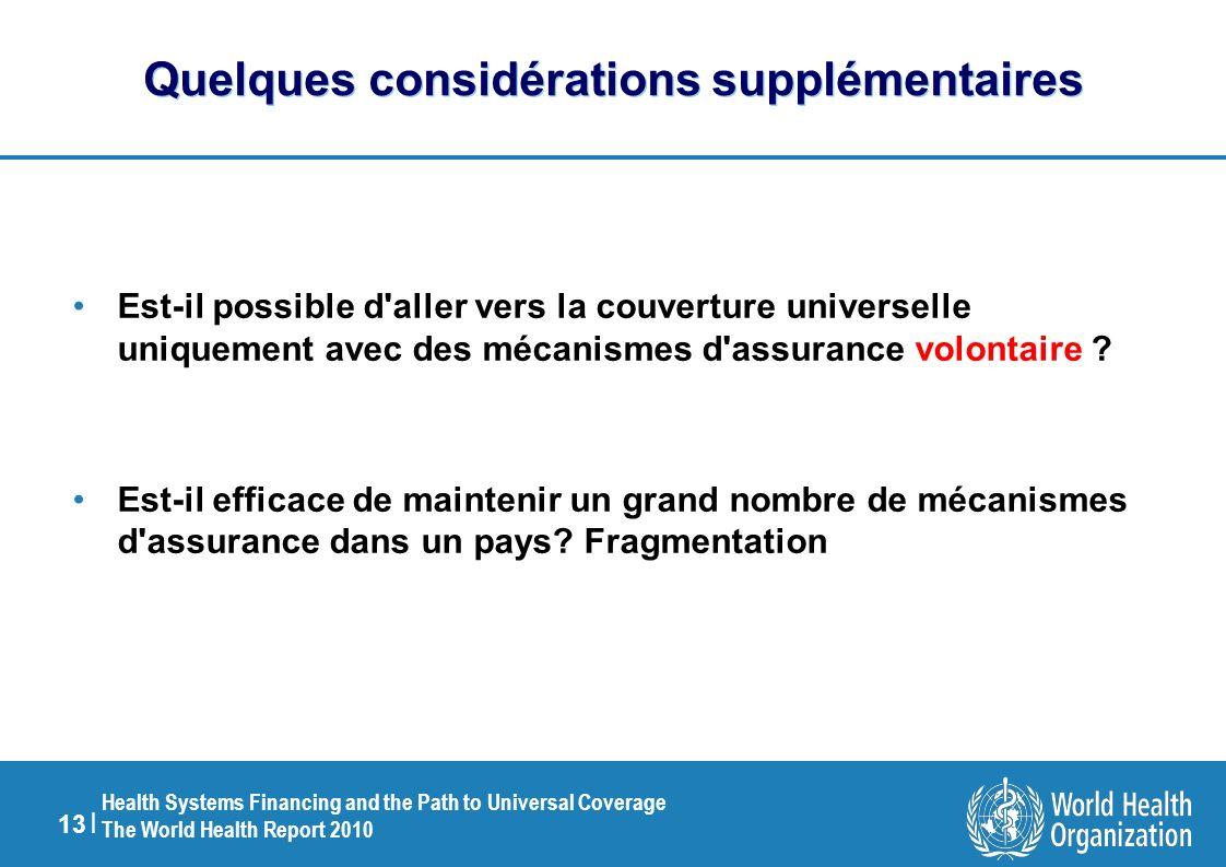 13 | Health Systems Financing and the Path to Universal Coverage The World Health Report 2010 Quelques considérations supplémentaires Est-il possible d aller vers la couverture universelle uniquement avec des mécanismes d assurance volontaire .