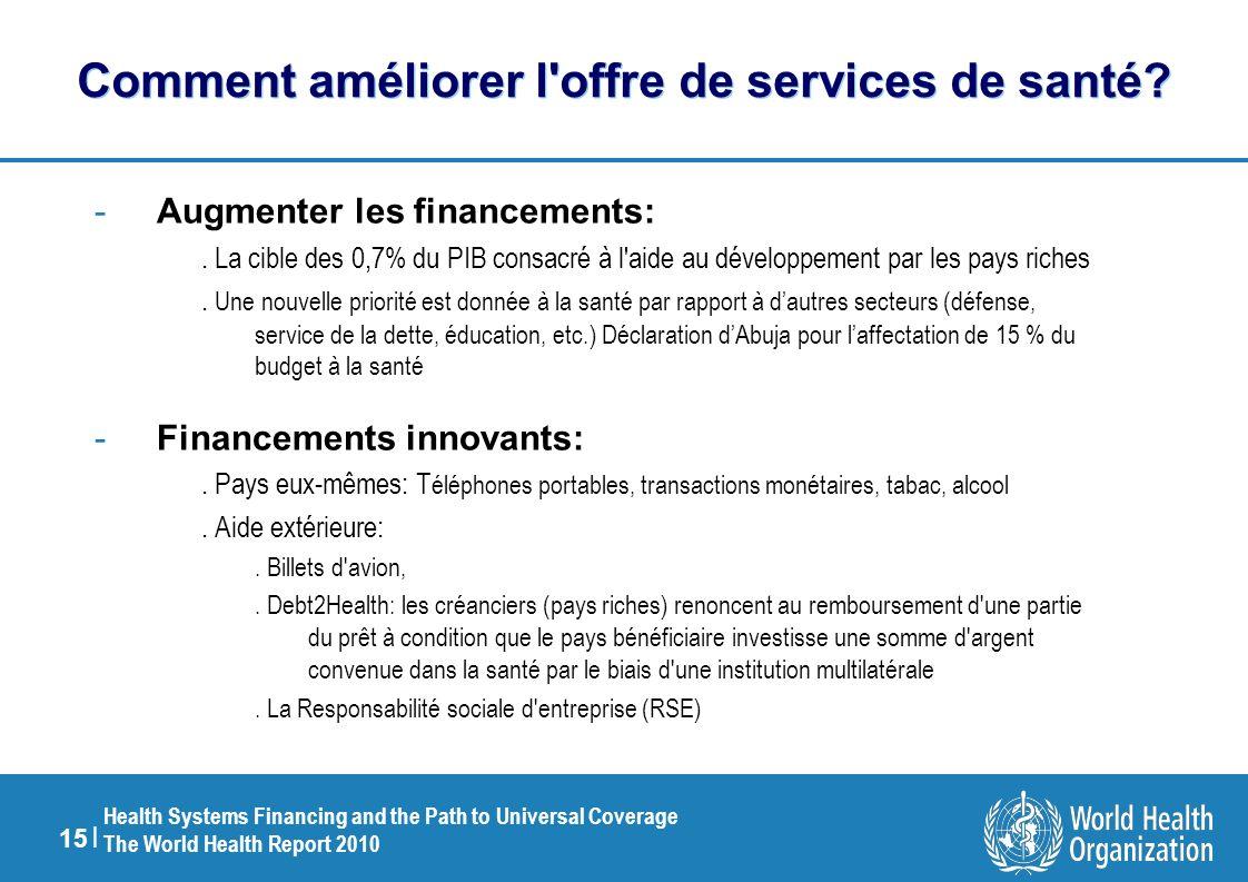 15 | Health Systems Financing and the Path to Universal Coverage The World Health Report 2010 Comment améliorer l offre de services de santé.