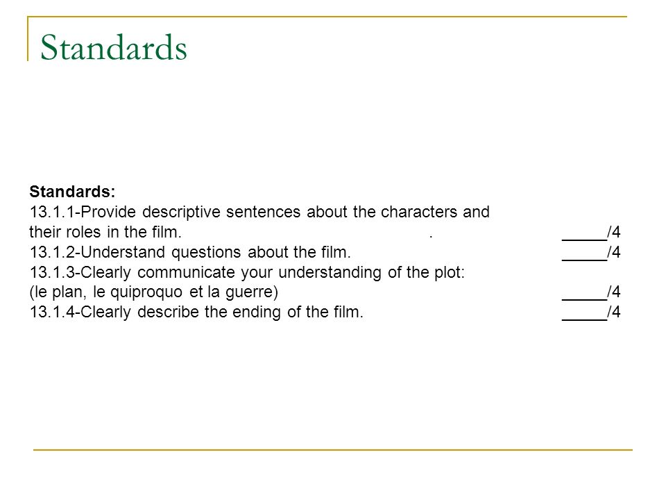 Standards Standards: 13.1.1-Provide descriptive sentences about the characters and their roles in the film.._____/4 13.1.2-Understand questions about