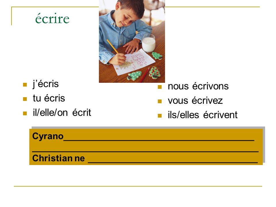 écrire jécris tu écris il/elle/on écrit nous écrivons vous écrivez ils/elles écrivent Cyrano_____________________________________ ____________________