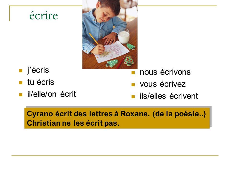 écrire jécris tu écris il/elle/on écrit nous écrivons vous écrivez ils/elles écrivent Cyrano écrit des lettres à Roxane. (de la poésie..) Christian ne