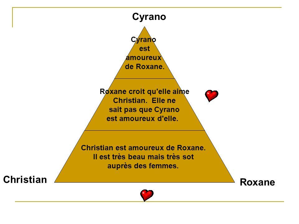 Cyrano est amoureux de Roxane. Roxane croit qu'elle aime Christian. Elle ne sait pas que Cyrano est amoureux d'elle. Christian est amoureux de Roxane.