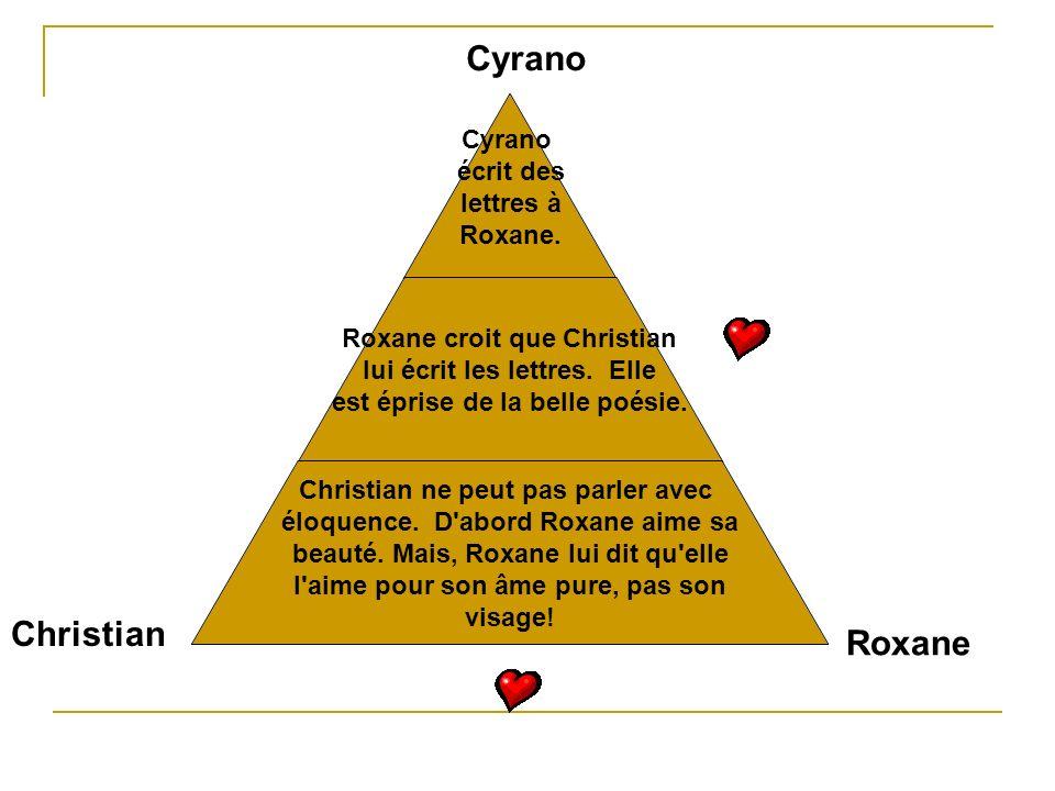 Cyrano écrit des lettres à Roxane. Roxane croit que Christian lui écrit les lettres. Elle est éprise de la belle poésie. Christian ne peut pas parler