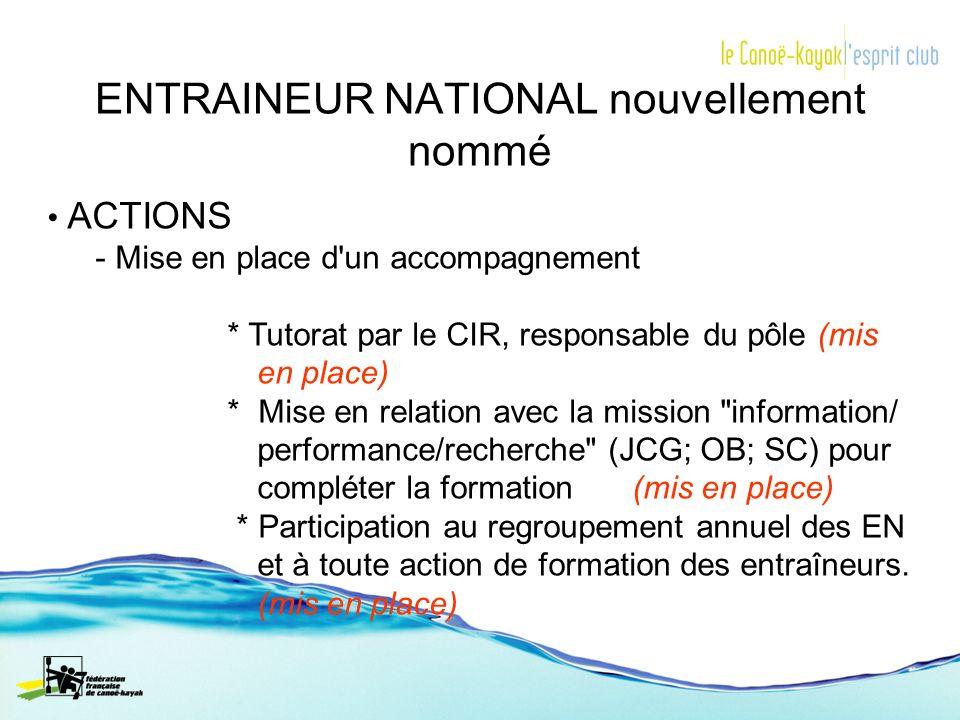 ENTRAINEUR NATIONAL nouvellement nommé ACTIONS - Mise en place d'un accompagnement * Tutorat par le CIR, responsable du pôle (mis en place) * Mise en