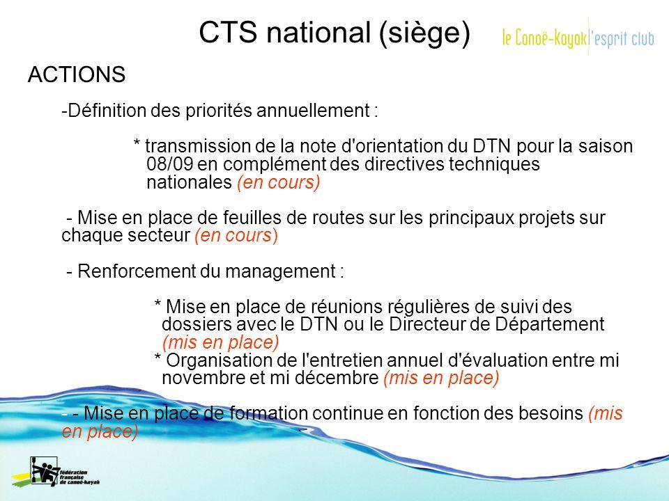 CTS national (siège) ACTIONS -Définition des priorités annuellement : * transmission de la note d'orientation du DTN pour la saison 08/09 en complémen
