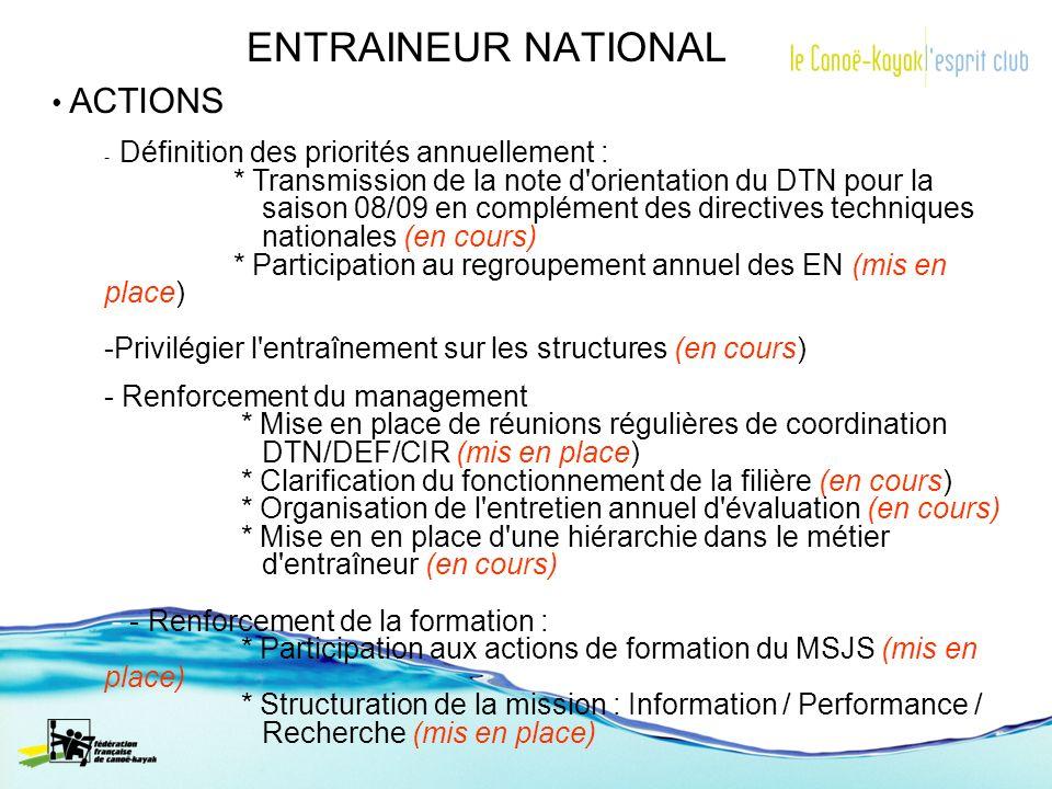 ENTRAINEUR NATIONAL ACTIONS - Définition des priorités annuellement : * Transmission de la note d'orientation du DTN pour la saison 08/09 en complémen