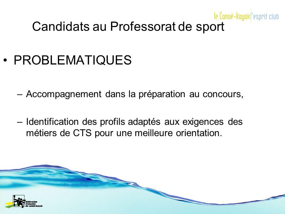 Candidats au Professorat de sport PROBLEMATIQUES –Accompagnement dans la préparation au concours, –Identification des profils adaptés aux exigences de