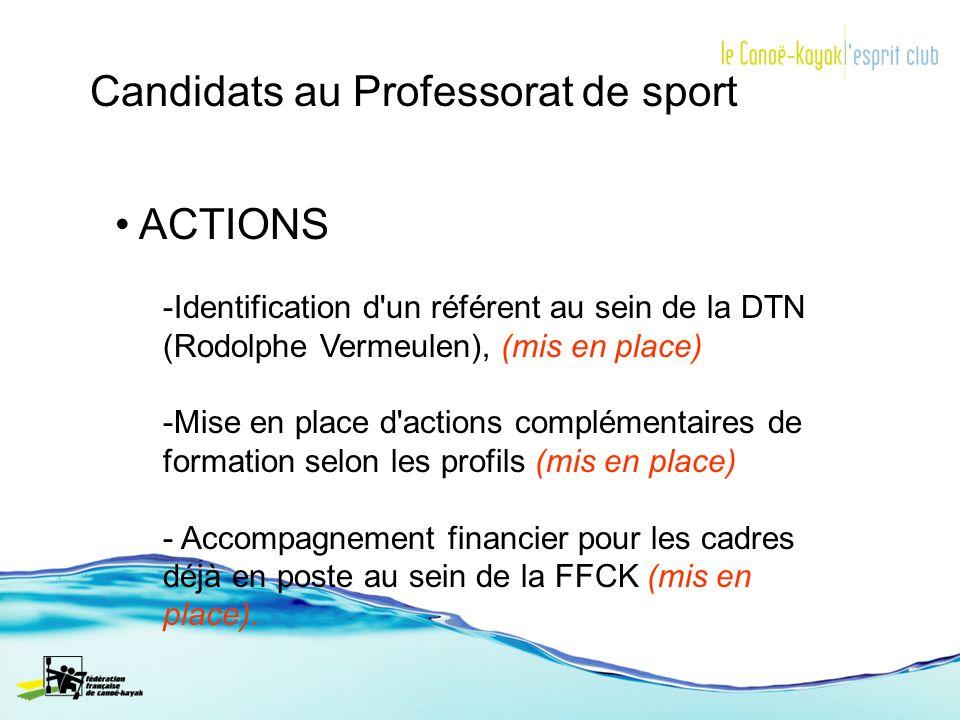 ACTIONS -Identification d'un référent au sein de la DTN (Rodolphe Vermeulen), (mis en place) -Mise en place d'actions complémentaires de formation sel