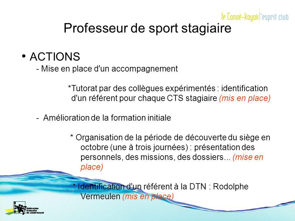 Professeur de sport stagiaire ACTIONS - Mise en place d'un accompagnement *Tutorat par des collègues expérimentés : identification d'un référent pour