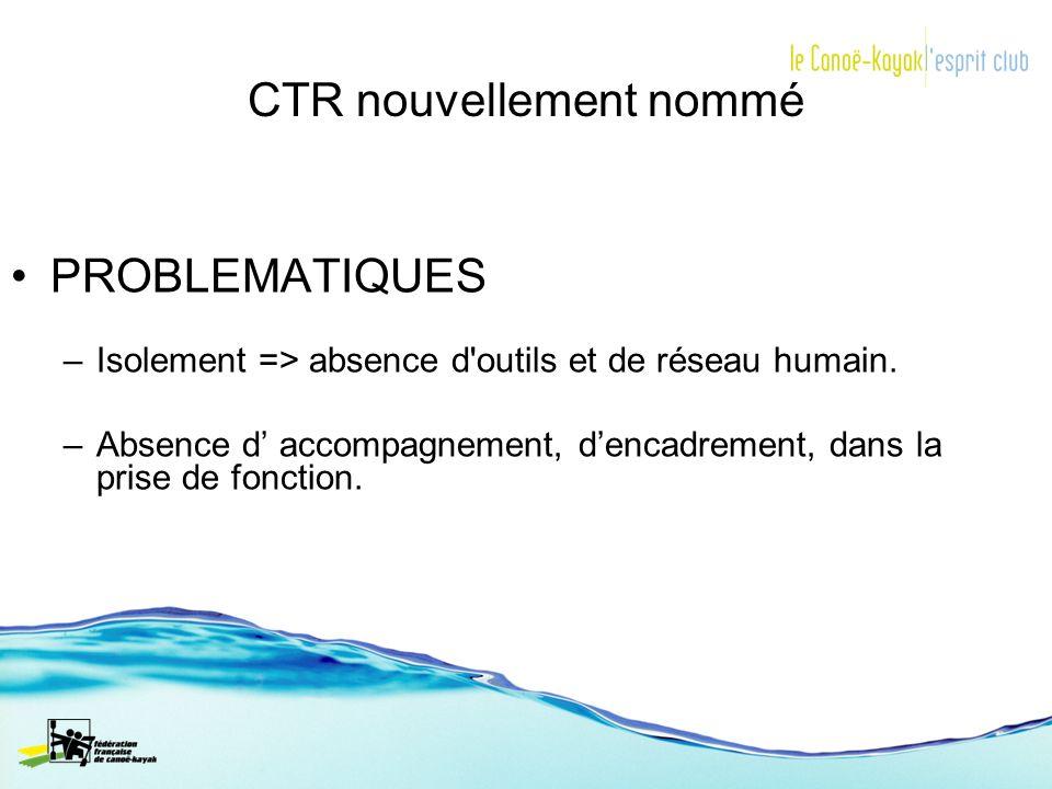 CTR nouvellement nommé PROBLEMATIQUES –Isolement => absence d'outils et de réseau humain. –Absence d accompagnement, dencadrement, dans la prise de fo