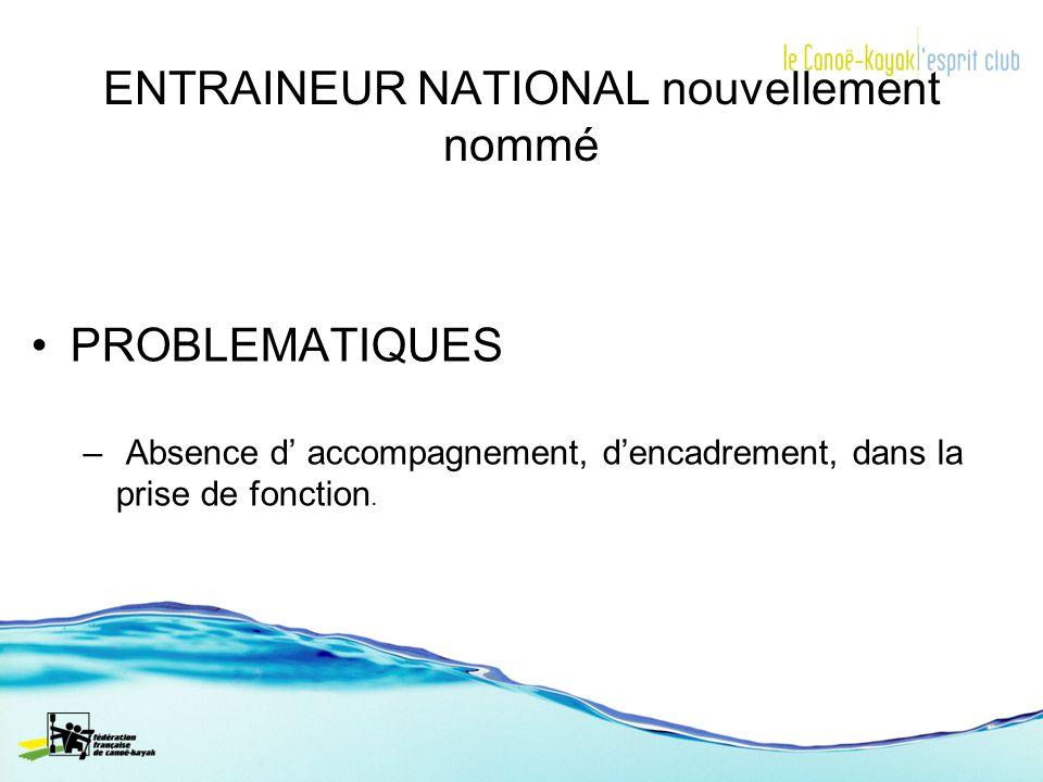 ENTRAINEUR NATIONAL nouvellement nommé PROBLEMATIQUES – Absence d accompagnement, dencadrement, dans la prise de fonction.