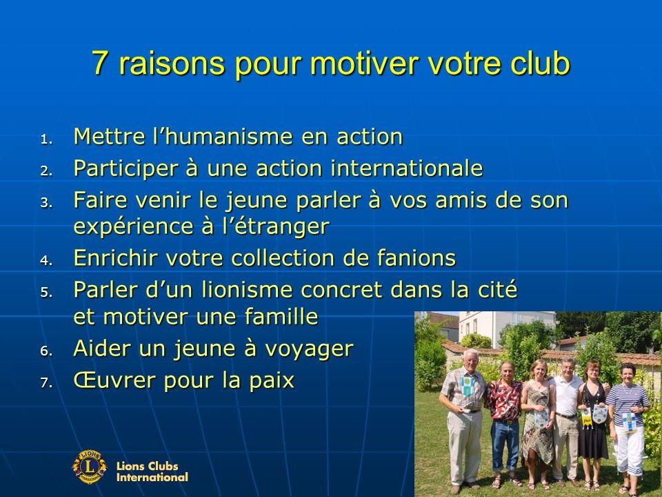 7 raisons pour motiver votre club 1. Mettre lhumanisme en action 2.