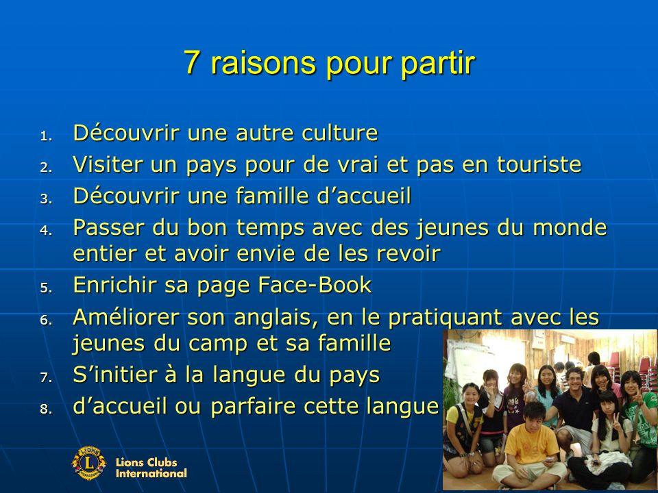 7 raisons pour partir 1. Découvrir une autre culture 2.