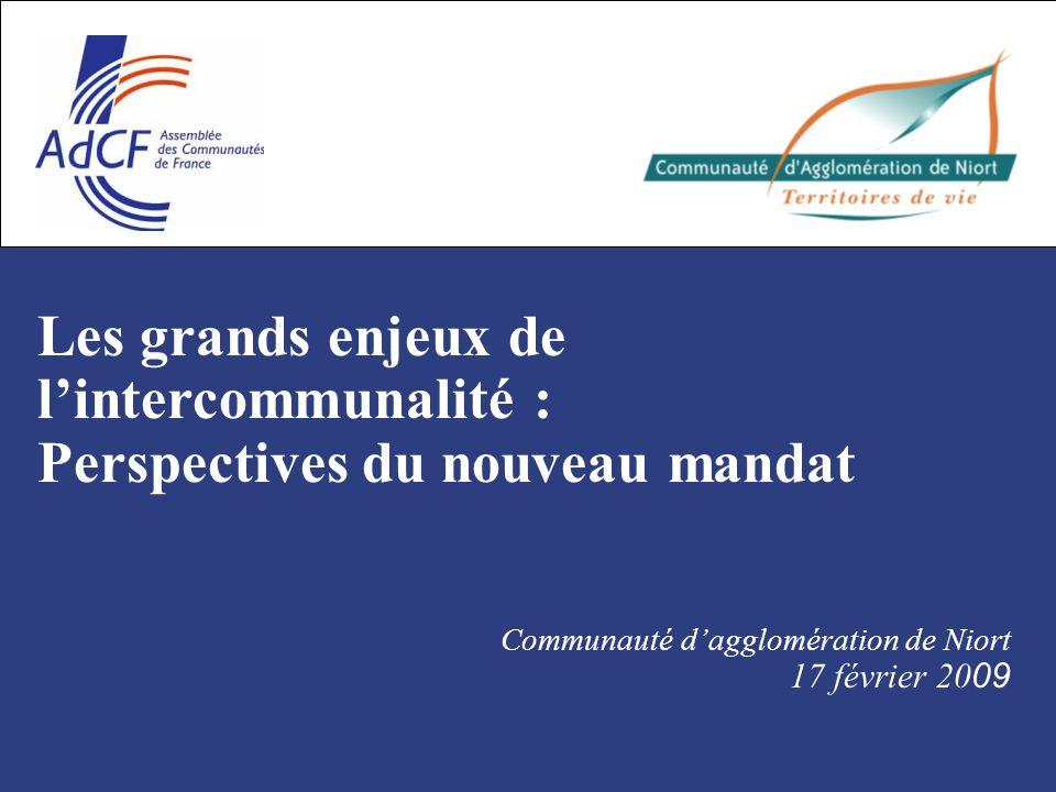 Les grands enjeux de lintercommunalité : Perspectives du nouveau mandat Communauté dagglomération de Niort 17 février 20 09