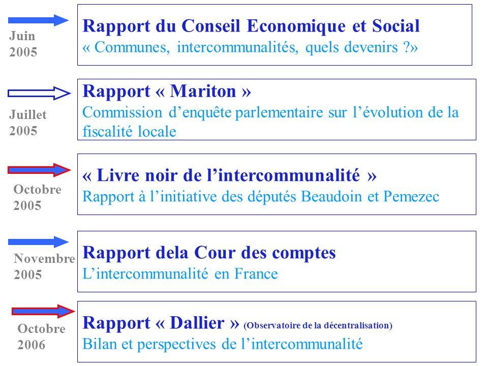 Rapport « Mariton » Commission denquête parlementaire sur lévolution de la fiscalité locale Rapport du Conseil Economique et Social « Communes, interc