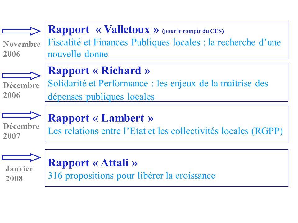Rapport « Lambert » Les relations entre lEtat et les collectivités locales (RGPP) Rapport « Richard » Solidarité et Performance : les enjeux de la maî