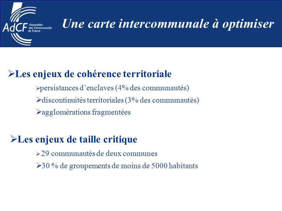 Les enjeux de cohérence territoriale persistances denclaves (4% des communautés) discontinuités territoriales (3% des communautés) agglomérations frag