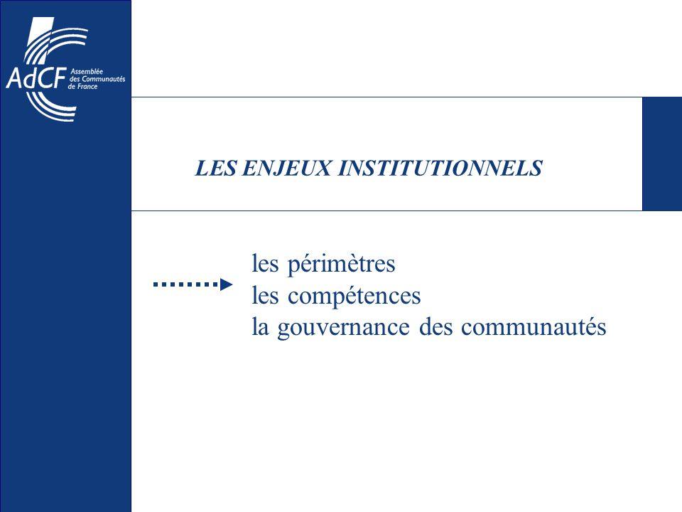 LES ENJEUX INSTITUTIONNELS les périmètres les compétences la gouvernance des communautés