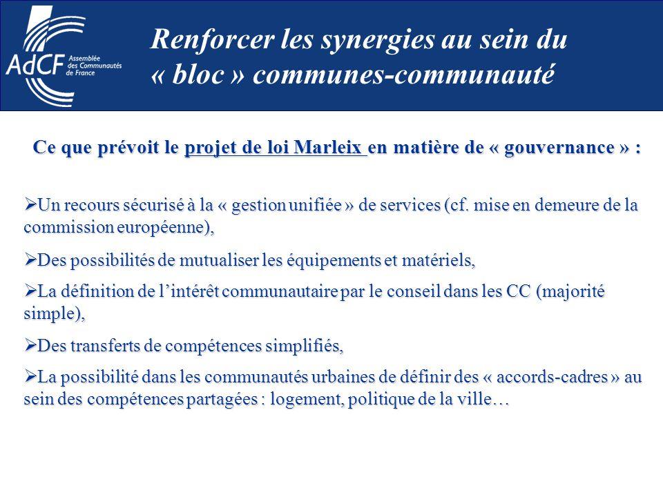 Ce que prévoit le projet de loi Marleix en matière de « gouvernance » : Un recours sécurisé à la « gestion unifiée » de services (cf. mise en demeure