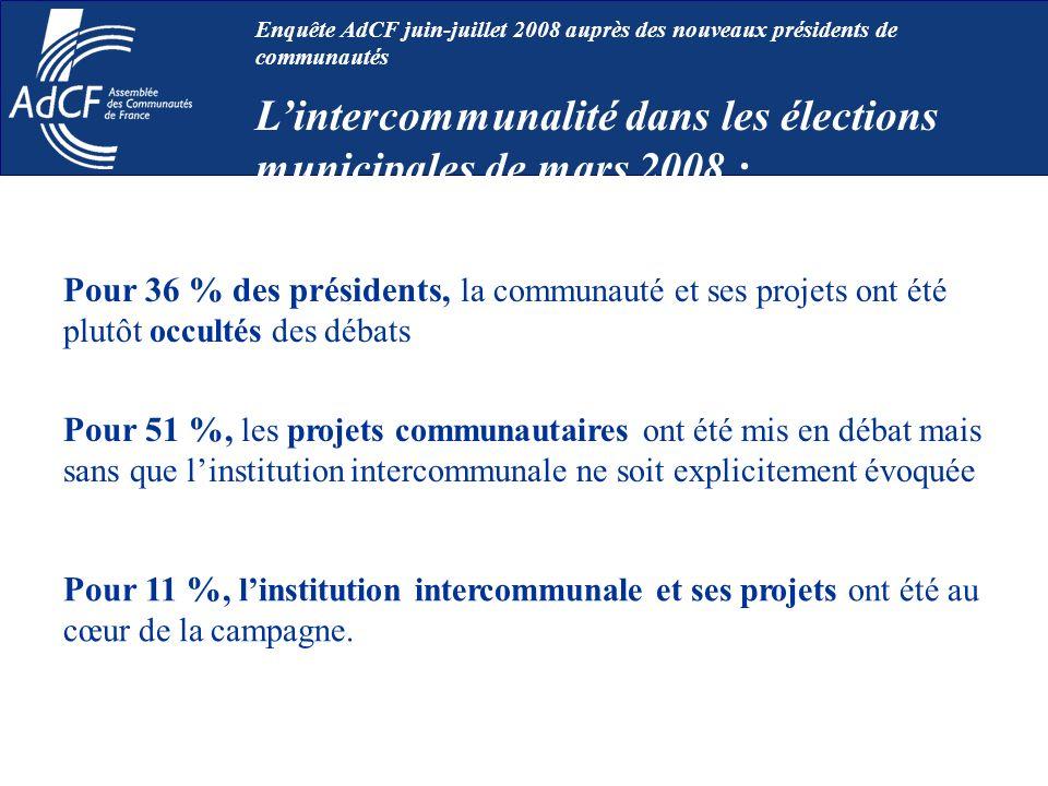 Pour 36 % des présidents, la communauté et ses projets ont été plutôt occultés des débats Pour 11 %, linstitution intercommunale et ses projets ont ét