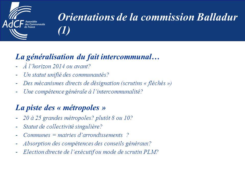 La généralisation du fait intercommunal… -À lhorizon 2014 ou avant? -Un statut unifié des communautés? -Des mécanismes directs de désignation (scrutin