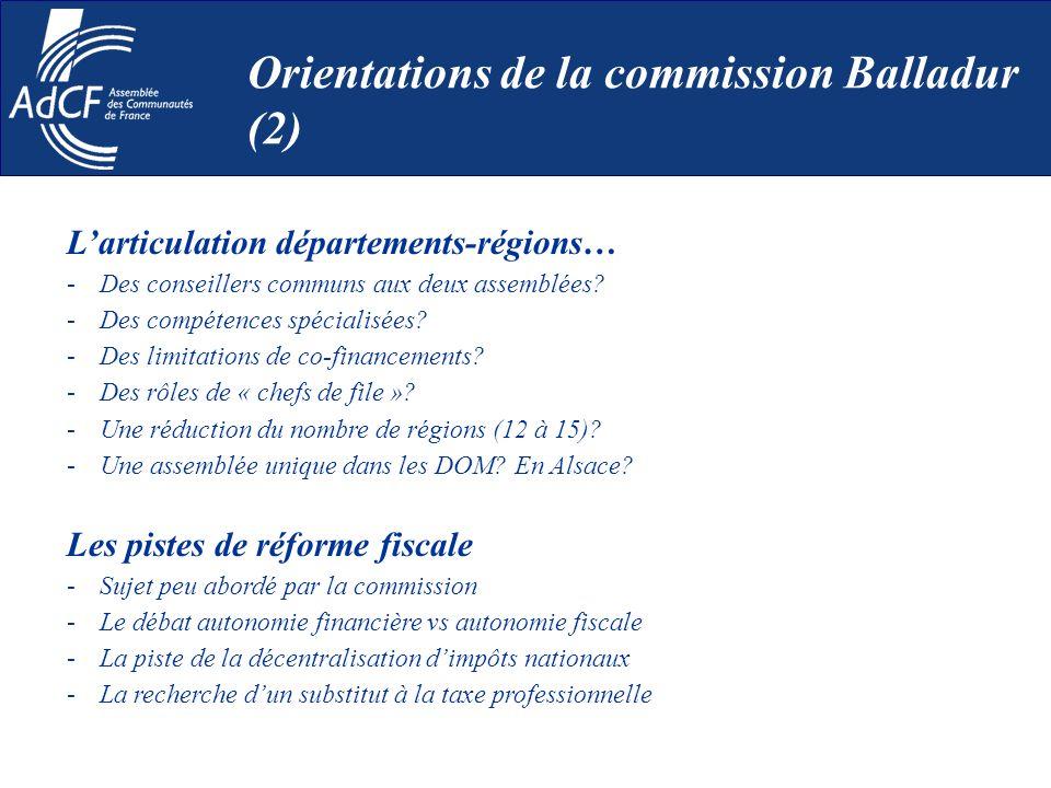 Larticulation départements-régions… -Des conseillers communs aux deux assemblées? -Des compétences spécialisées? -Des limitations de co-financements?