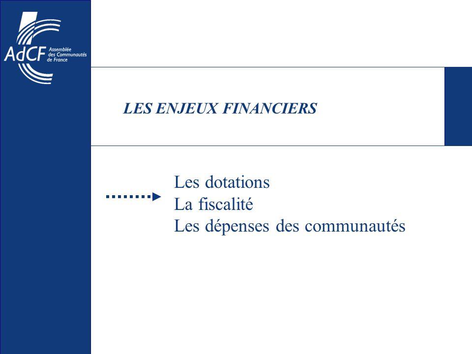 LES ENJEUX FINANCIERS Les dotations La fiscalité Les dépenses des communautés