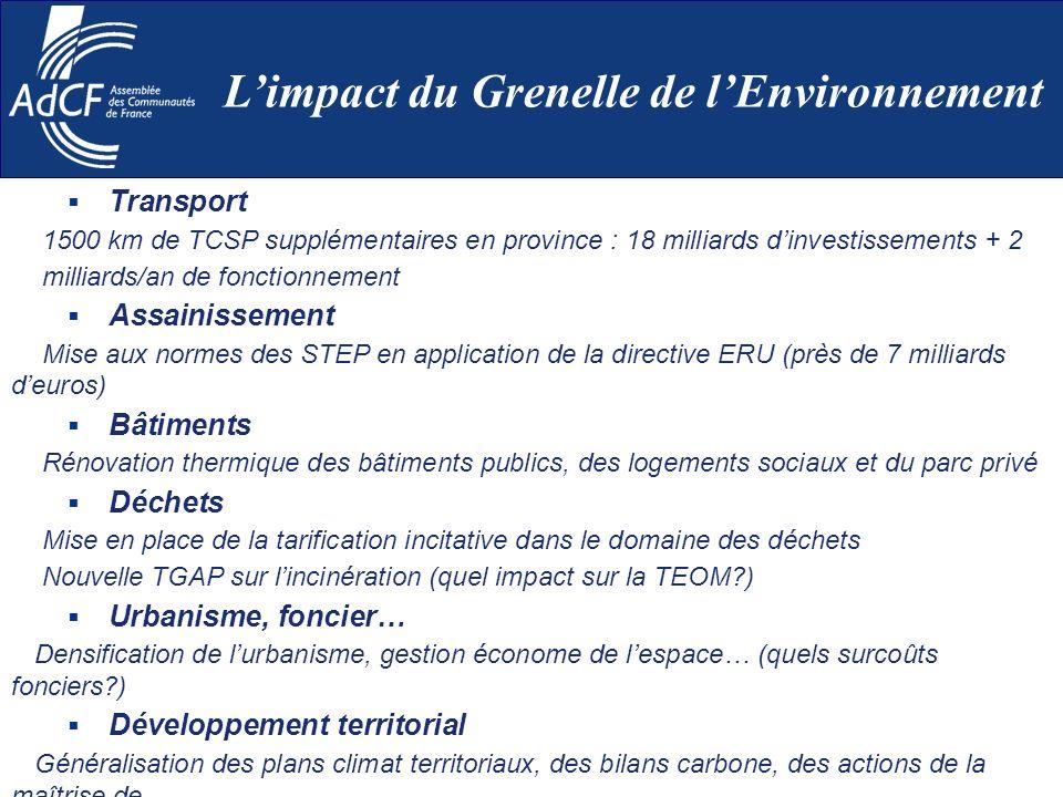 Transport 1500 km de TCSP supplémentaires en province : 18 milliards dinvestissements + 2 milliards/an de fonctionnement Assainissement Mise aux norme