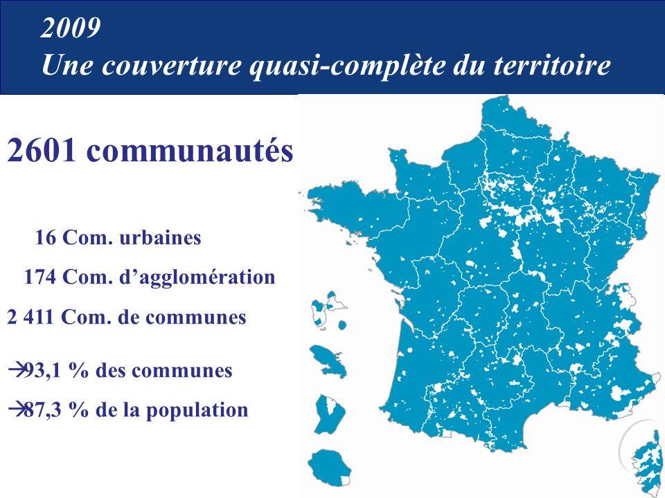 2601 communautés 16 Com. urbaines 174 Com. dagglomération 2 411 Com. de communes 93,1 % des communes 87,3 % de la population 2009 Une couverture quasi