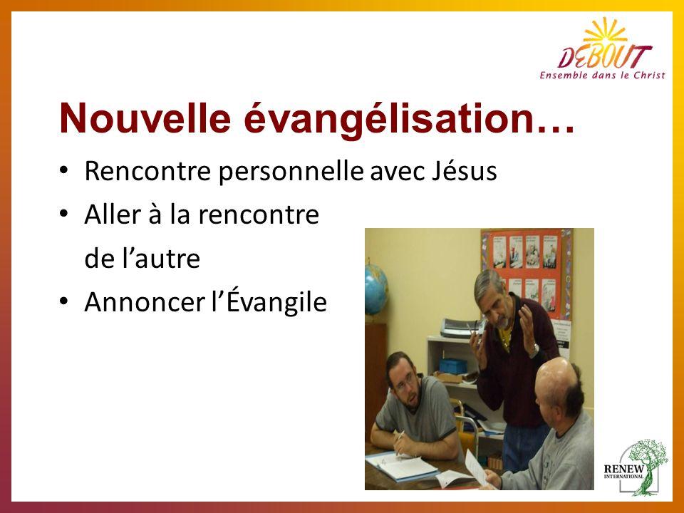 Nouvelle évangélisation… Rencontre personnelle avec Jésus Aller à la rencontre de lautre Annoncer lÉvangile