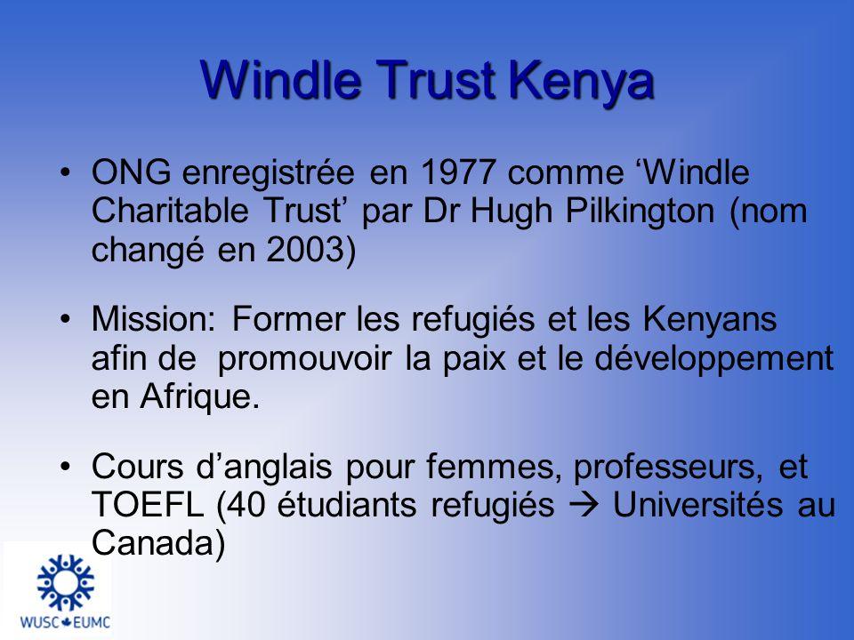 Windle Trust Kenya ONG enregistrée en 1977 comme Windle Charitable Trust par Dr Hugh Pilkington (nom changé en 2003) Mission: Former les refugiés et les Kenyans afin de promouvoir la paix et le développement en Afrique.