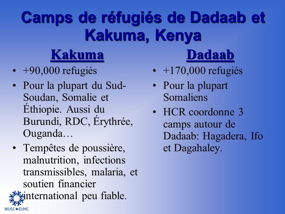 Dadaab +170,000 refugiés Pour la plupart Somaliens HCR coordonne 3 camps autour de Dadaab: Hagadera, Ifo et Dagahaley.