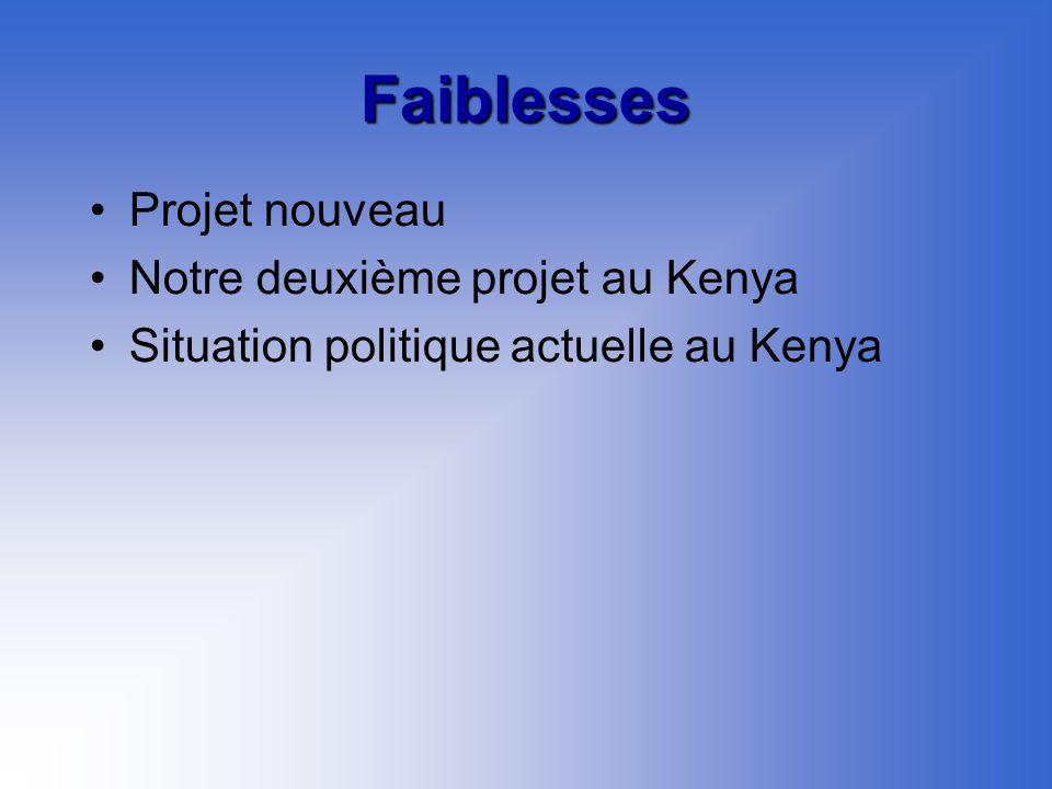 Faiblesses Projet nouveau Notre deuxième projet au Kenya Situation politique actuelle au Kenya