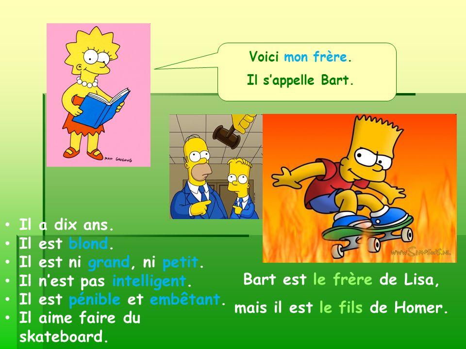 Voici mon frère. Il sappelle Bart. Bart est le frère de Lisa, mais il est le fils de Homer. Il a dix ans. Il est blond. Il est ni grand, ni petit. Il