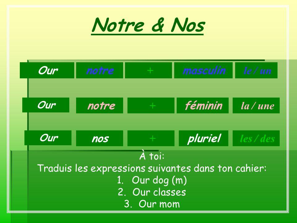 Notre & Nos masculin féminin pluriel notre + + nos le / un Our + la / une les / des À toi: Traduis les expressions suivantes dans ton cahier: 1.Our do
