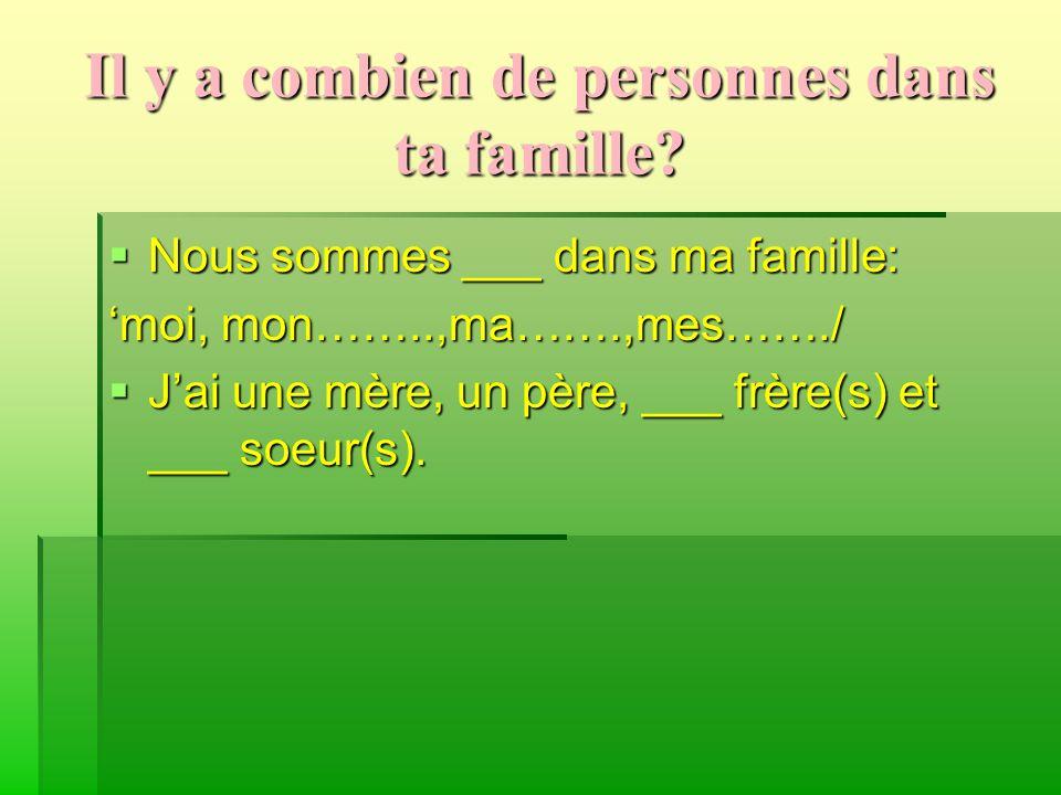 Il y a combien de personnes dans ta famille? Nous sommes ___ dans ma famille: Nous sommes ___ dans ma famille: moi, mon……..,ma…….,mes……./ Jai une mère