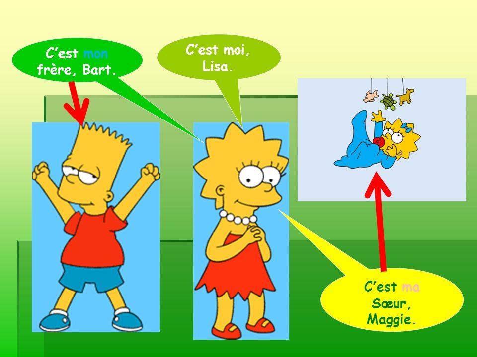 Voici mon frère.Il sappelle Bart. Bart est le frère de Lisa, mais il est le fils de Homer.