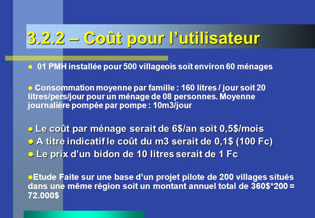 3.2.2 – Coût pour lutilisateur 01 PMH installée pour 500 villageois soit environ 60 ménages Consommation moyenne par famille : 160 litres / jour soit