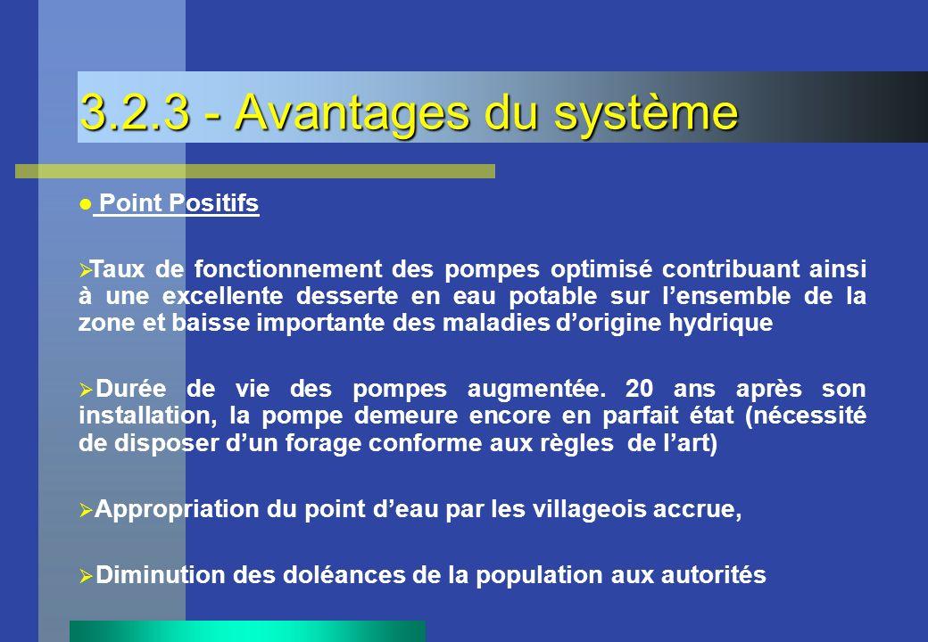 3.2.3 - Avantages du système Point Positifs Taux de fonctionnement des pompes optimisé contribuant ainsi à une excellente desserte en eau potable sur