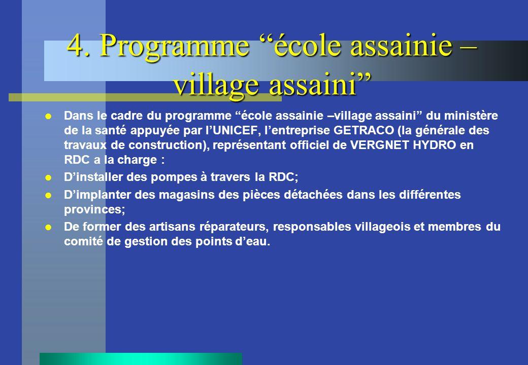 4. Programme école assainie – village assaini Dans le cadre du programme école assainie –village assaini du ministère de la santé appuyée par lUNICEF,