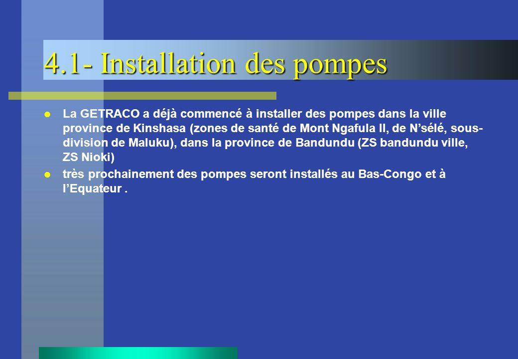 4.1- Installation des pompes La GETRACO a déjà commencé à installer des pompes dans la ville province de Kinshasa (zones de santé de Mont Ngafula II,