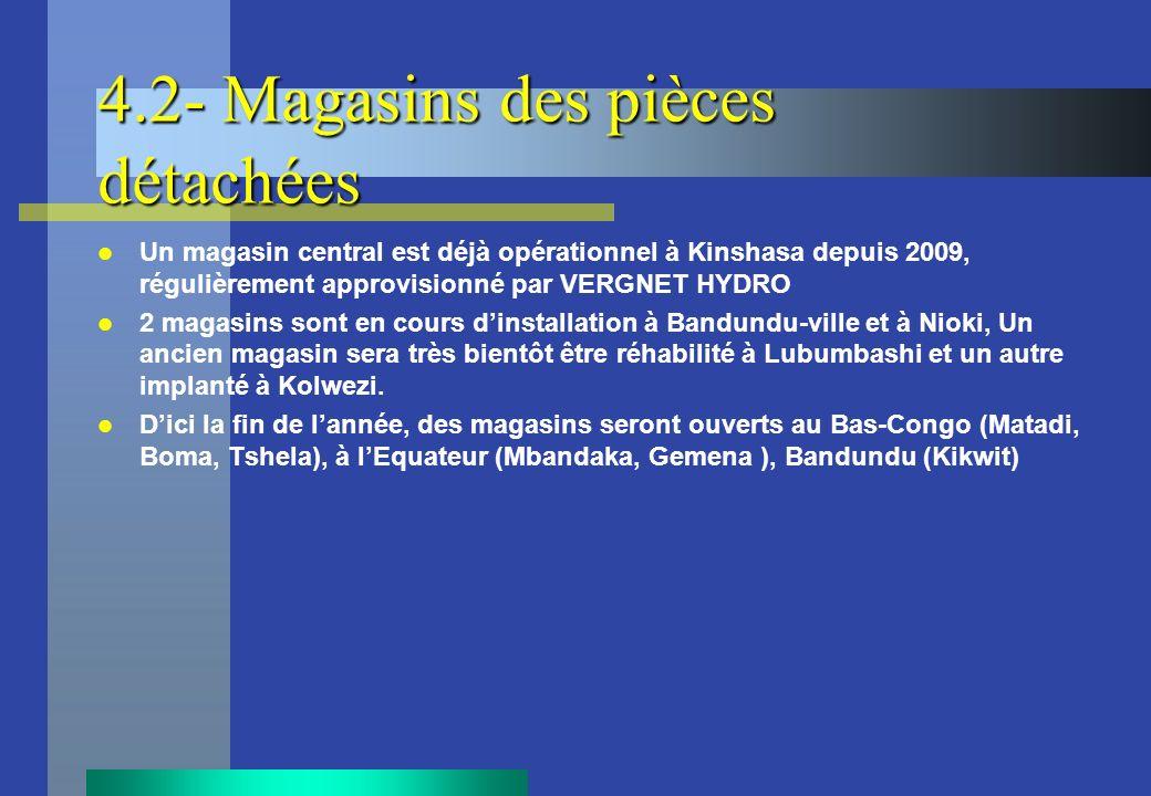 4.2- Magasins des pièces détachées Un magasin central est déjà opérationnel à Kinshasa depuis 2009, régulièrement approvisionné par VERGNET HYDRO 2 ma