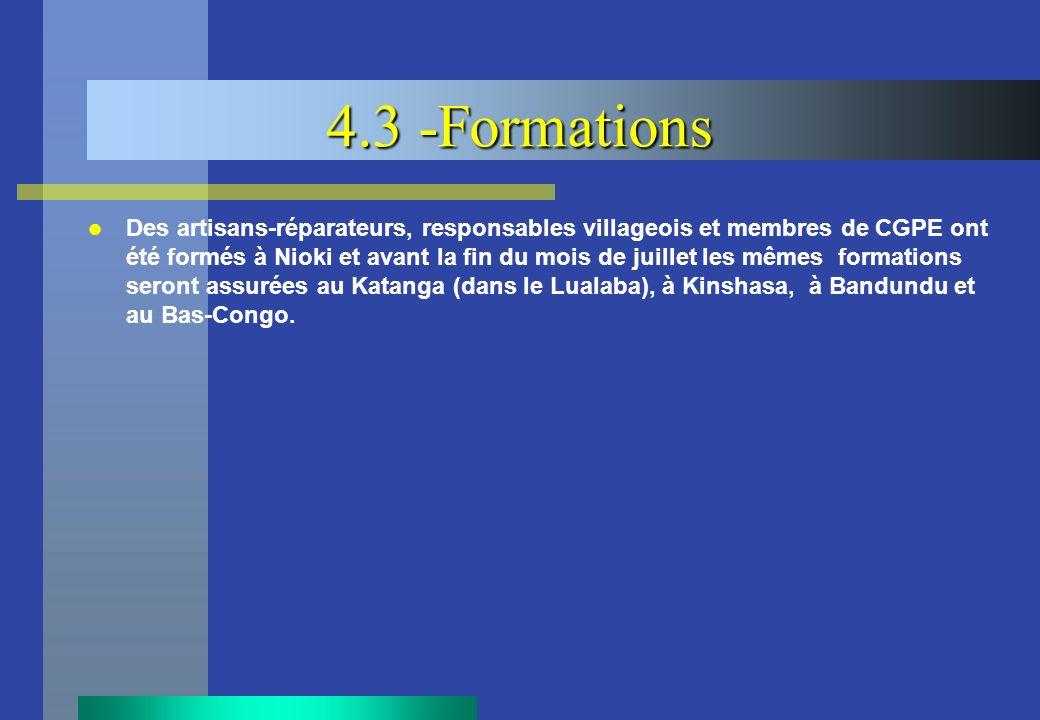 4.3 -Formations Des artisans-réparateurs, responsables villageois et membres de CGPE ont été formés à Nioki et avant la fin du mois de juillet les mêm