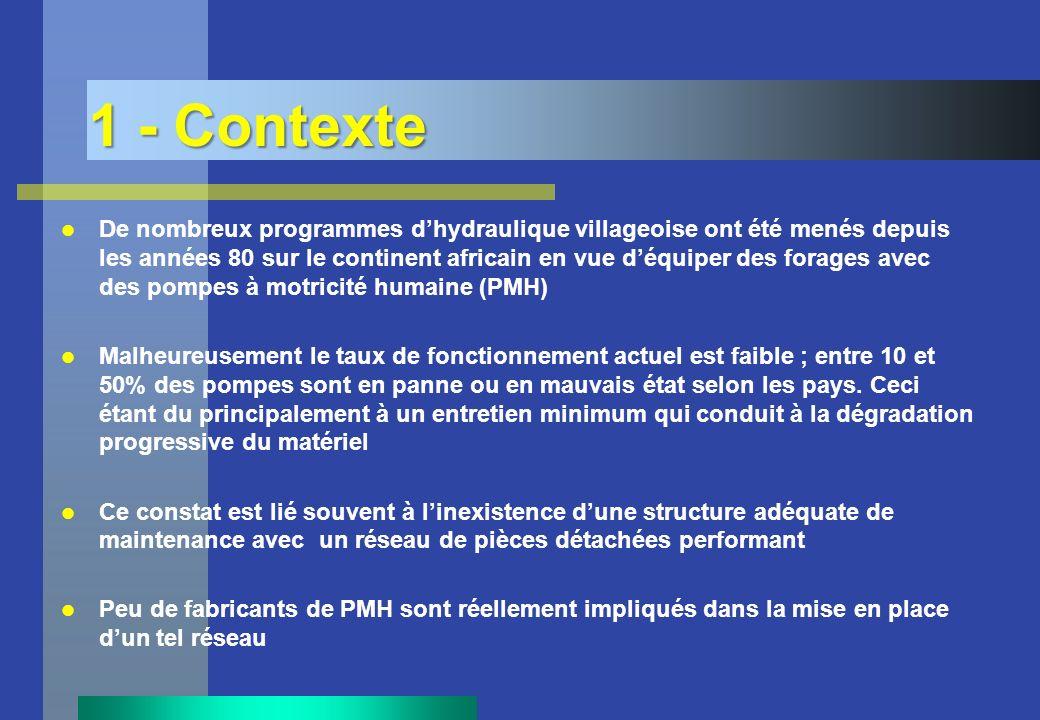 1 - Contexte De nombreux programmes dhydraulique villageoise ont été menés depuis les années 80 sur le continent africain en vue déquiper des forages