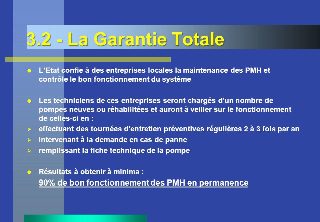 3.2 - La Garantie Totale LEtat confie à des entreprises locales la maintenance des PMH et contrôle le bon fonctionnement du système Les techniciens de