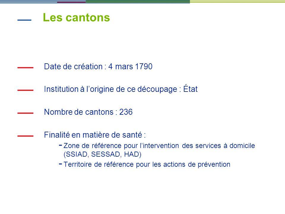 Les cantons Date de création : 4 mars 1790 Institution à lorigine de ce découpage : État Nombre de cantons : 236 Finalité en matière de santé : - Zone