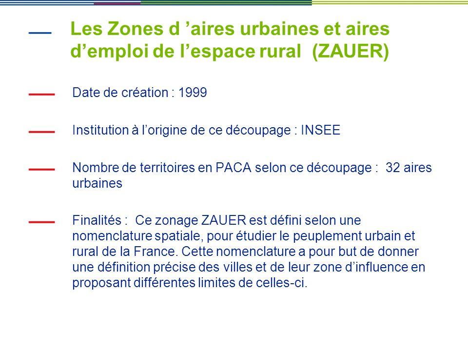 Les Zones d aires urbaines et aires demploi de lespace rural (ZAUER) Date de création : 1999 Institution à lorigine de ce découpage : INSEE Nombre de
