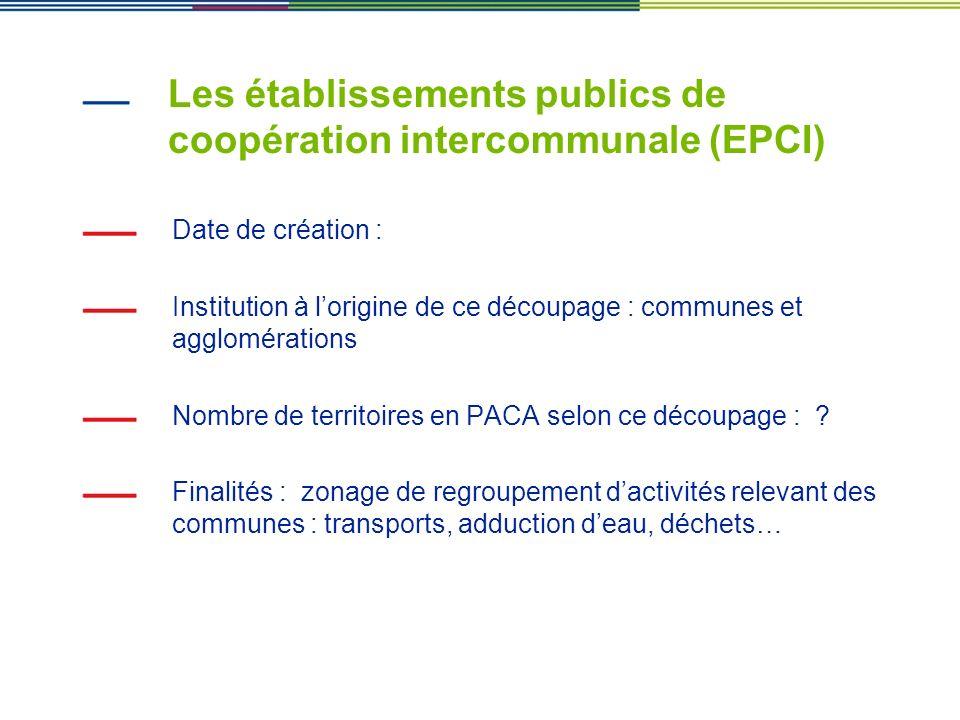 Les établissements publics de coopération intercommunale (EPCI) Date de création : Institution à lorigine de ce découpage : communes et agglomérations